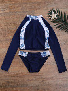 Tropical Print Crop Top And Briefs Wetsuit - Purplish Blue M