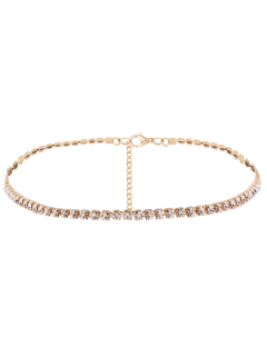 Rhinestone Chain Necklace - Golden