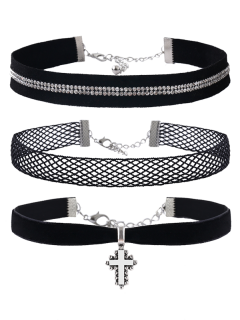 Crucifix Rhinestone Velvet Choker Necklace Set - Black