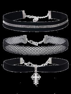 Kruzifix Strass Velvet Halskette Set - Schwarz