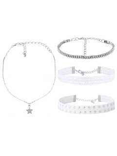 Rhinestone Lace Star Choker Necklace Set - White