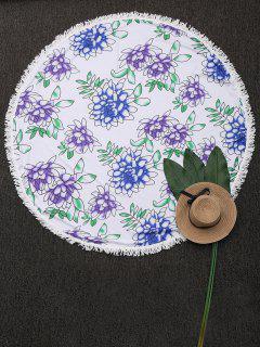 Couverture De Plage Florale Ronde Avec Glands - Blanc
