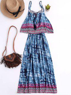 Printed Layered Boho Dress - Blue Xl