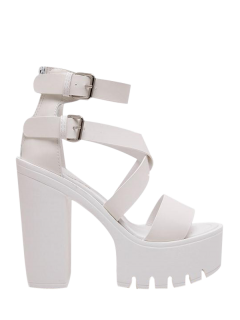 Zipper Double Belt Buckle Cross Strap Sandals - White 39