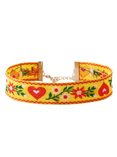 Heart Flower Embroidered Choker Necklace - Yellow