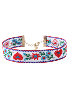 Heart Flower Embroidered Choker Necklace - White