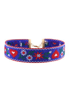 Heart Flower Embroidered Choker Necklace - Blue