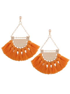 Alloy Triangle Tassel Drop Earrings - Yolk Yellow
