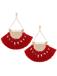 Alloy Triangle Tassel Drop Earrings - Red