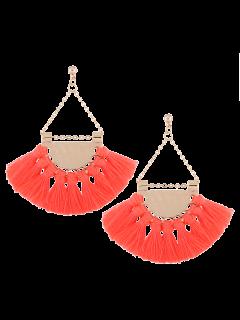 Alloy Triangle Tassel Drop Earrings - Pink