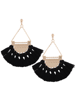 Alloy Triangle Tassel Drop Earrings - Black