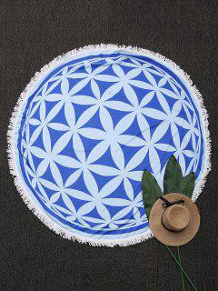 Couverture De Plage Ronde Frangée à Motifs Mandala - Bleu