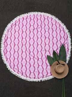 Round Fringed Print Beach Throw - Pink
