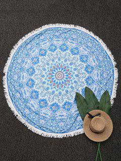 Ronda Throw Paisley Con Flecos Playa - Azul Claro