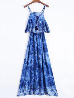 Layered Tie-Dyed Maxi Dress - Blue Xl