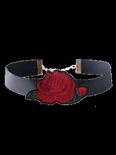 Collier Ras Du Cou Ajustable Avec Broderie Florale - Rouge
