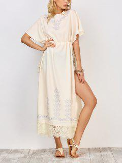Drawstring Haute Maxi Dress Slit - Blanc S
