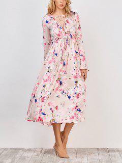 Robe Imprimée Florale De Longueur Mi-mollet à Col V  - Floral S