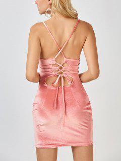 Mini Vestido Ceñido De Terciopelo Con Espalda Cruzada - Rosado S