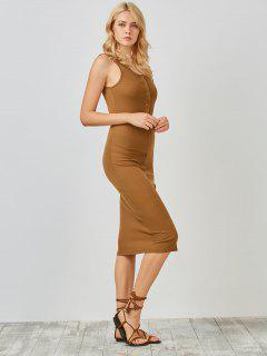 Knitting Button Up Bodycon Dress - Camel S