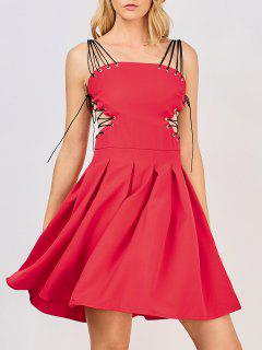 Side Lace Up Skater Party Dress - Red S