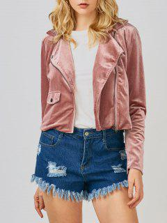 Velvet Biker Jacket - Rose Foncé S