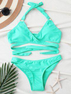 Bikini Dos-nu Drapé Et Décolleté - Turquoise M