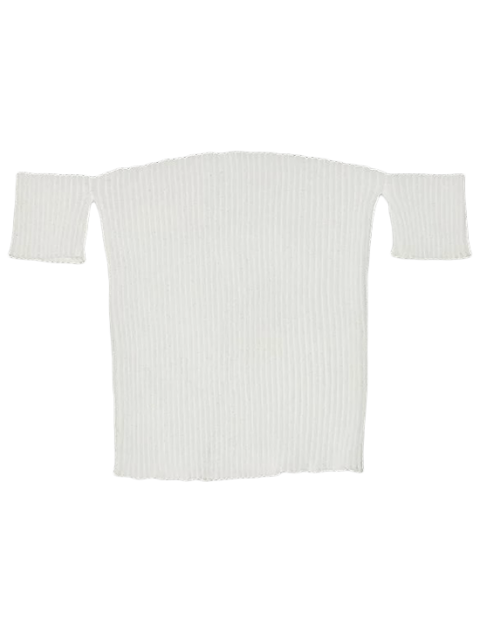 sale Fitted Off Shoulder Ribbed Knitwear - WHITE M Mobile