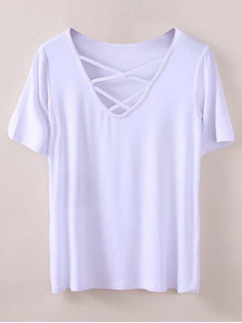 fashion Strappy T-Shirt - WHITE M Mobile