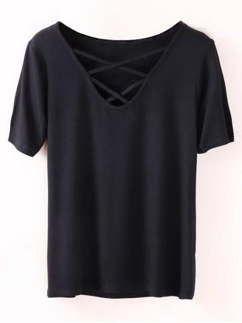 unique Strappy T-Shirt - BLACK S Mobile