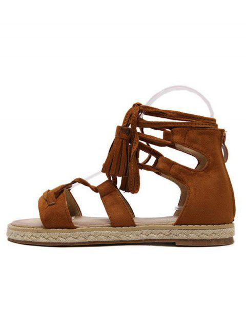shop Tassels Lace Up Espadrilles Sandals - BROWN 37 Mobile