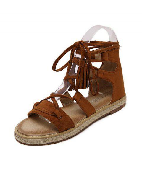 shops Tassels Lace Up Espadrilles Sandals - BROWN 38 Mobile