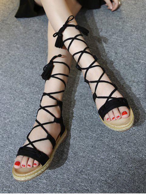 new Tassels Lace Up Espadrilles Sandals - BLACK 37 Mobile