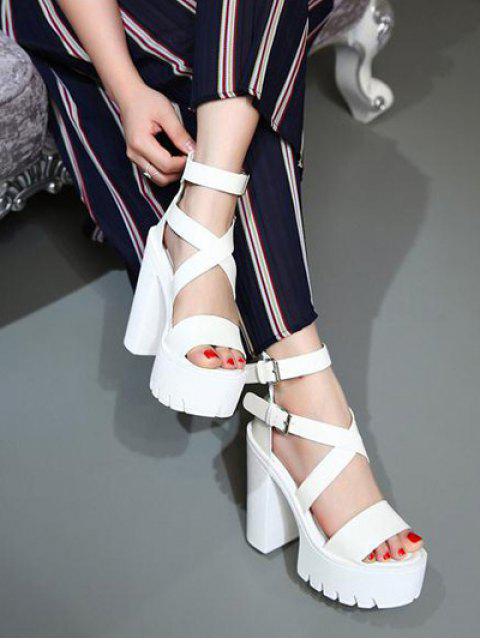 hot Zipper Double Belt Buckle Cross Strap Sandals - WHITE 38 Mobile