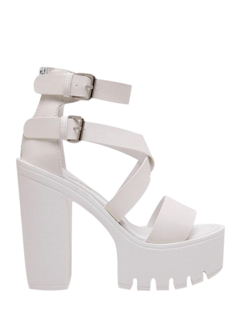 hot Zipper Double Belt Buckle Cross Strap Sandals - WHITE 38 Mobile