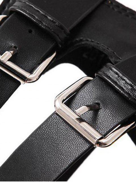 ladies Zipper Double Belt Buckle Cross Strap Sandals - BLACK 37 Mobile