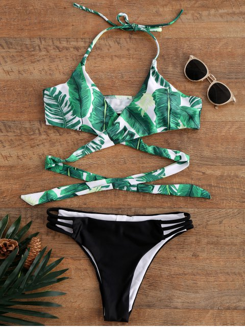 trendy Palm Tree Print Strappy Halter Top Bikini Swimwear - COLORMIX M Mobile