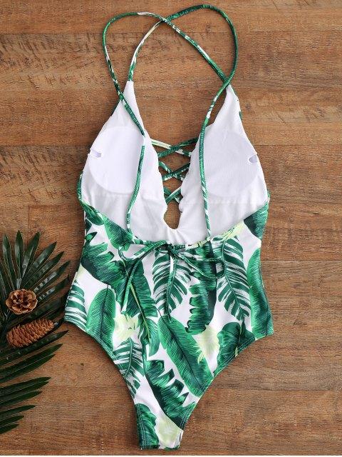 Maillot de bain une-pièce paddé dos nu col plongeant imprimé palmier - Vert S Mobile