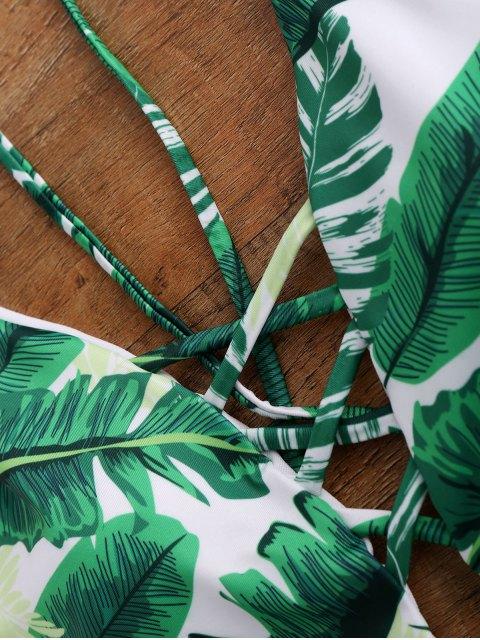 Maillot de bain paddé dos nu col plongeant imprimé palmier une-pièce - Vert XL Mobile