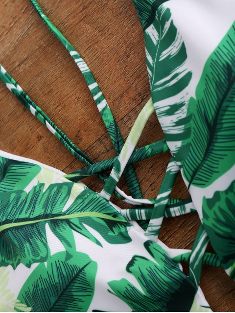 trendy Palm Print Backless Plunge Padded One Piece Bathing Suit - GREEN S Mobile