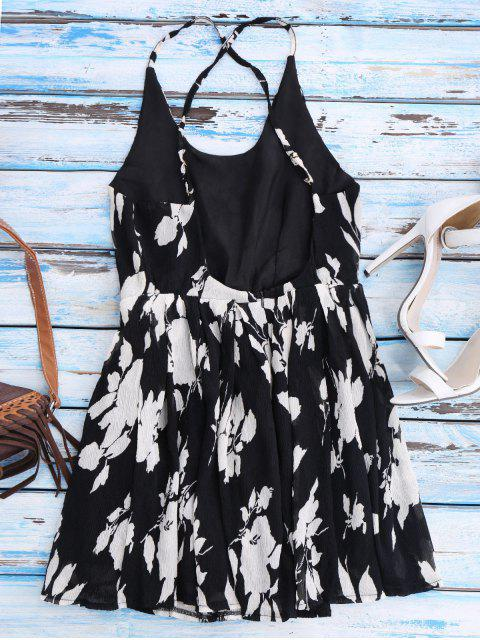 latest Floral Cross Back Beach Cami Dress - BLACK M Mobile