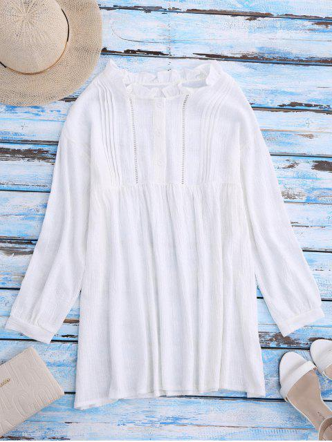 Blouse à encolure tunisienne à fanfreluches - Blanc Taille Unique Mobile