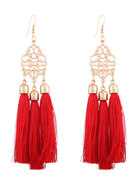 lady Alloy Engraved Tassel Drop Earrings - RED  Mobile