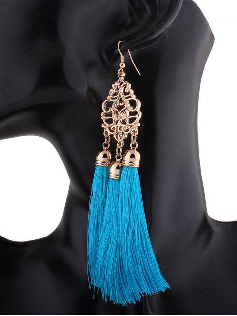 Boucles d'oreilles en alliage rétro gravé avec glands - Bleu  Mobile