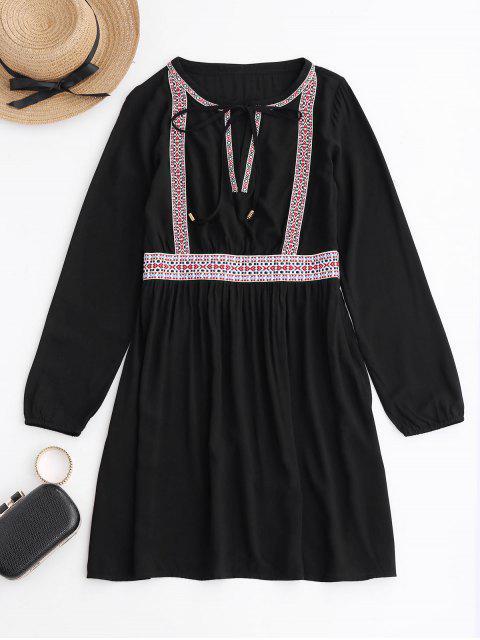 Bordado de manga larga vestido ocasional - Negro M Mobile