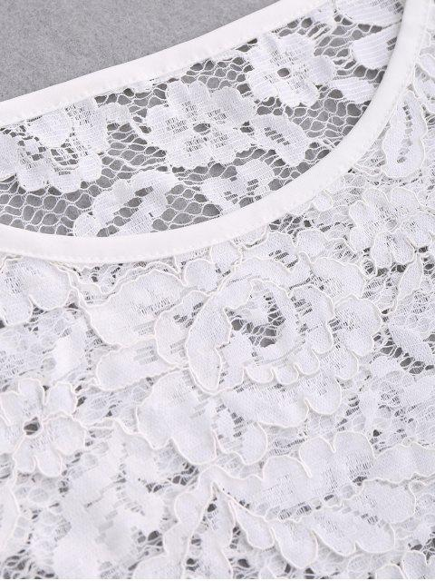 hot Laser Cut Scalloped Lace Top - WHITE S Mobile