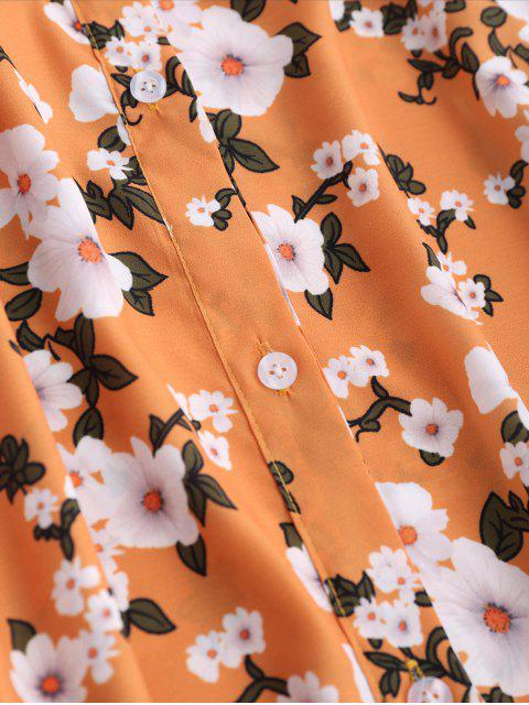unique Floral Off The Shoulder A-Line Dress - EARTHY XL Mobile