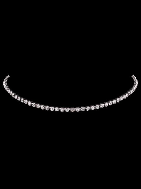 Strass Kette Halskette - Silber  Mobile