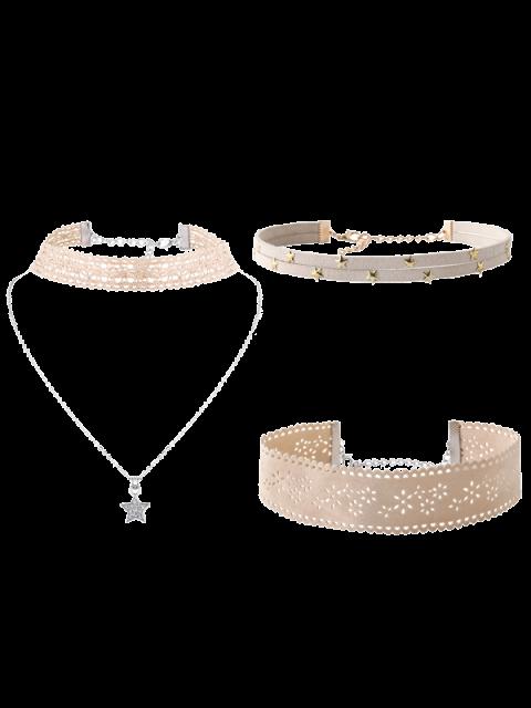 Blumen-Stern-Halskette Set - Beige (Weis)  Mobile