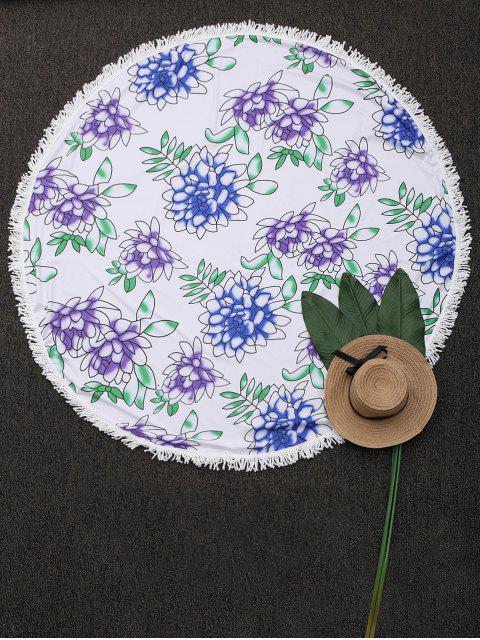 ladies Round Tassels Floral Beach Blanket - WHITE ONE SIZE Mobile